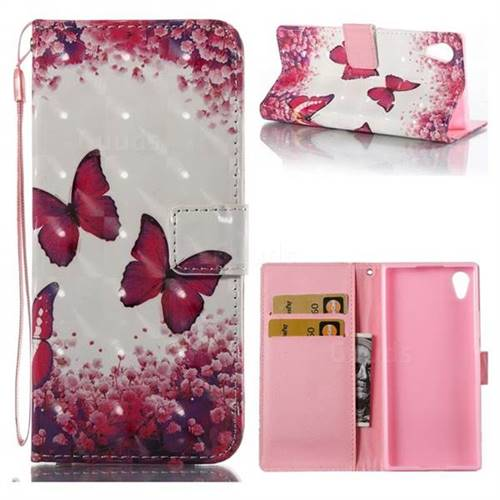 Rose Butterfly 3D Painted Leather Wallet Case for Sony Xperia XA1