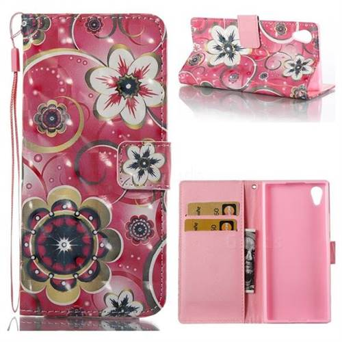 Tulip Flower 3D Painted Leather Wallet Case for Sony Xperia XA1