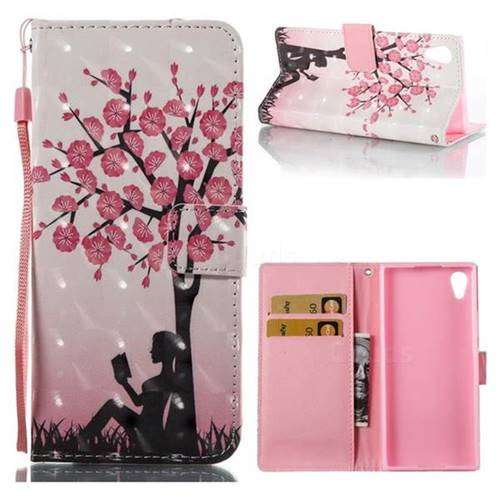 Plum Girl 3D Painted Leather Wallet Case for Sony Xperia XA1