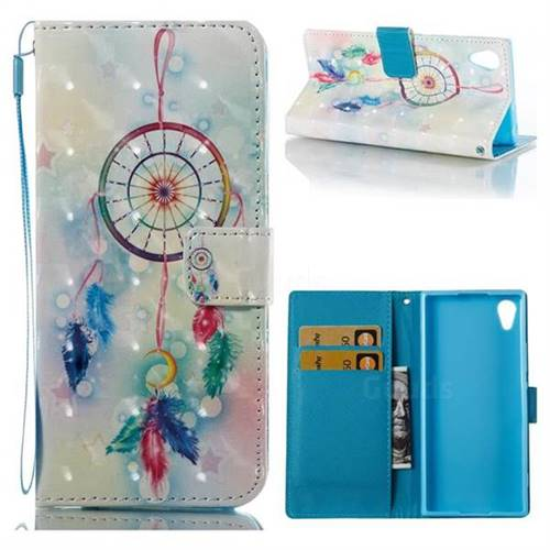 Feather Wind Chimes 3D Painted Leather Wallet Case for Sony Xperia XA1