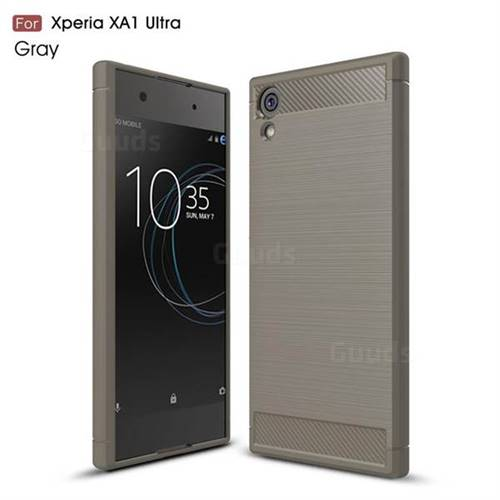 Luxury Carbon Fiber Brushed Wire Drawing Silicone TPU Back Cover for Sony Xperia XA1 Ultra (Gray)