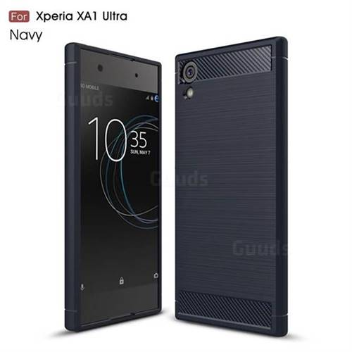 Luxury Carbon Fiber Brushed Wire Drawing Silicone TPU Back Cover for Sony Xperia XA1 Ultra (Navy)