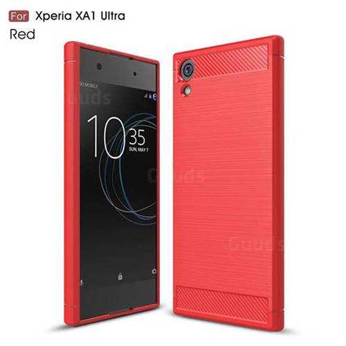 Luxury Carbon Fiber Brushed Wire Drawing Silicone TPU Back Cover for Sony Xperia XA1 Ultra (Red)