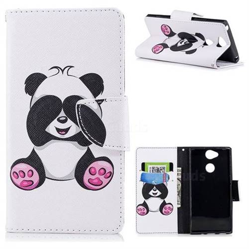 Lovely Panda Leather Wallet Case for Sony Xperia XA2