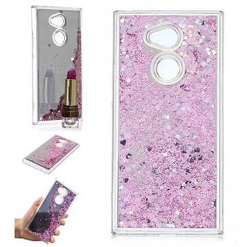 Glitter Sand Mirror Quicksand Dynamic Liquid Star TPU Case for Sony Xperia XA2 Ultra(6.0 inch) - Cherry Pink