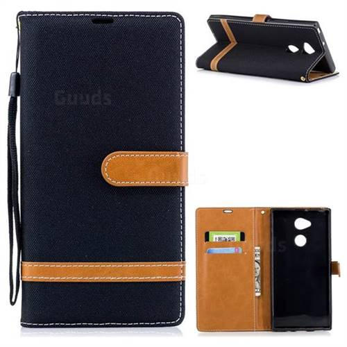Jeans Cowboy Denim Leather Wallet Case for Sony Xperia XA2 Ultra(6.0 inch) - Black