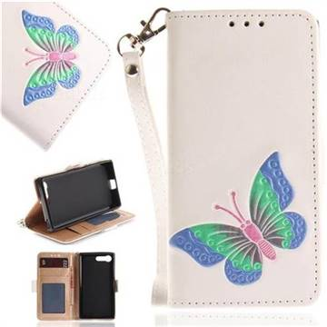 Imprint Embossing Butterfly Leather Wallet Case for Sony Xperia X Compact X Mini - White