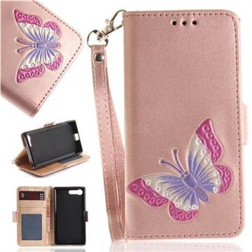 Imprint Embossing Butterfly Leather Wallet Case for Sony Xperia X Compact X Mini - Rose Gold