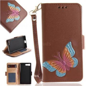 Imprint Embossing Butterfly Leather Wallet Case for Sony Xperia X Compact X Mini - Brown
