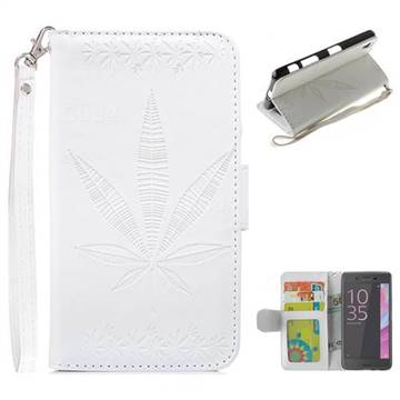 Intricate Embossing Maple Leather Wallet Case for Sony Xperia X Performance - White