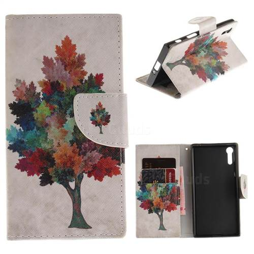 Colored Tree PU Leather Wallet Case for Sony Xperia XZ