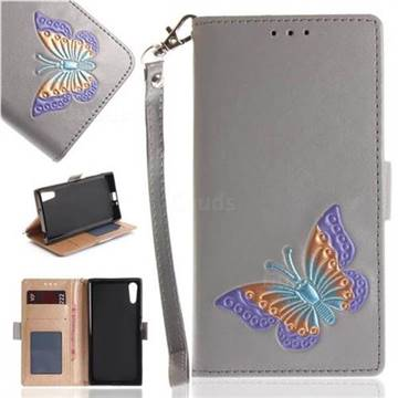 Imprint Embossing Butterfly Leather Wallet Case for Sony Xperia XZ XZs - Grey