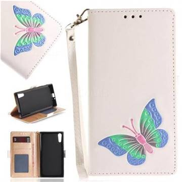 Imprint Embossing Butterfly Leather Wallet Case for Sony Xperia XZ XZs - White