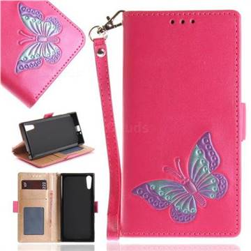 Imprint Embossing Butterfly Leather Wallet Case for Sony Xperia XZ XZs - Rose Red