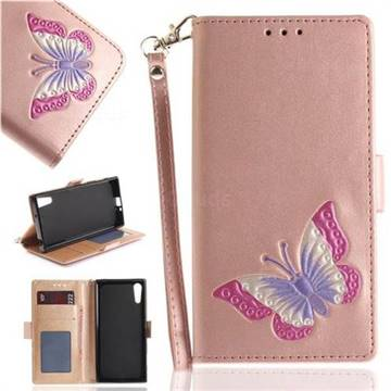 Imprint Embossing Butterfly Leather Wallet Case for Sony Xperia XZ XZs - Rose Gold