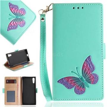 Imprint Embossing Butterfly Leather Wallet Case for Sony Xperia XZ XZs - Mint Green