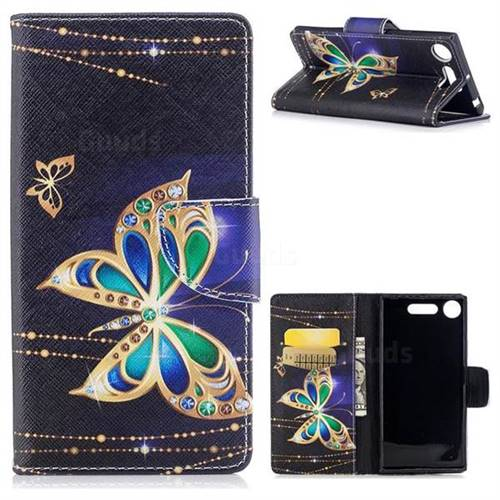 Golden Shining Butterfly Leather Wallet Case for Sony Xperia XZ1