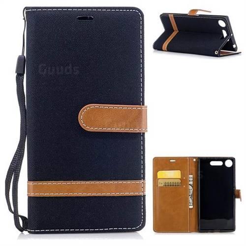 Jeans Cowboy Denim Leather Wallet Case for Sony Xperia XZ1 - Black