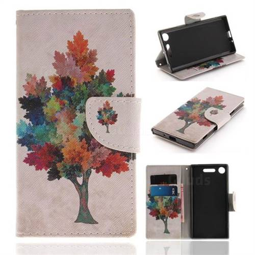 Colored Tree PU Leather Wallet Case for Sony Xperia XZ1
