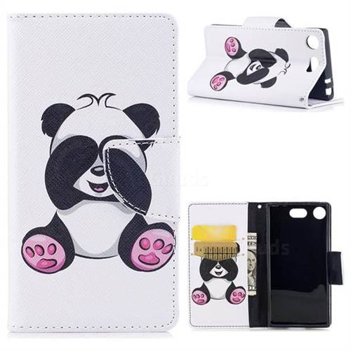 Lovely Panda Leather Wallet Case for Sony Xperia XZ1 Compact