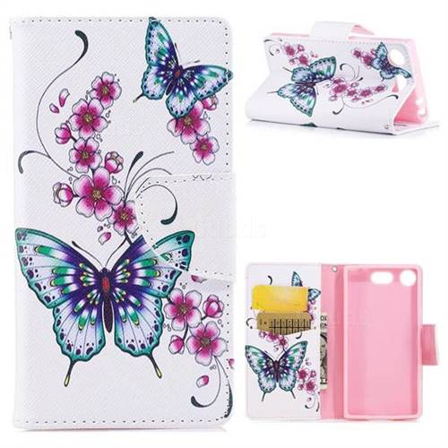 Peach Butterfly Leather Wallet Case for Sony Xperia XZ1 Compact