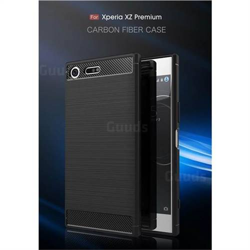 Luxury Carbon Fiber Brushed Wire Drawing Silicone TPU Back Cover for Sony Xperia XZ Premium XZP (Black)
