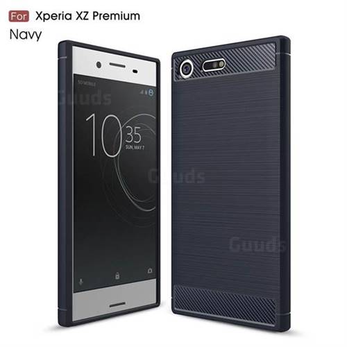 Luxury Carbon Fiber Brushed Wire Drawing Silicone TPU Back Cover for Sony Xperia XZ Premium XZP (Navy)