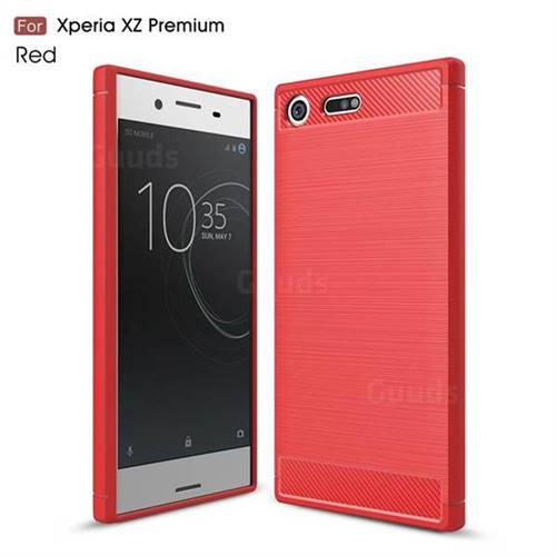 Luxury Carbon Fiber Brushed Wire Drawing Silicone TPU Back Cover for Sony Xperia XZ Premium XZP (Red)