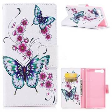 Peach Butterfly Leather Wallet Case for Sony Xperia XZ Premium XZP