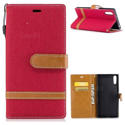 Jeans Cowboy Denim Leather Wallet Case for Sony Xperia XZs - Red