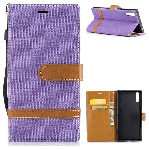 Jeans Cowboy Denim Leather Wallet Case for Sony Xperia XZs - Purple