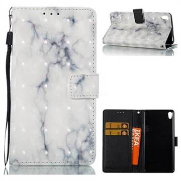 White Gray Marble 3D Painted Leather Wallet Case for Sony Xperia E5