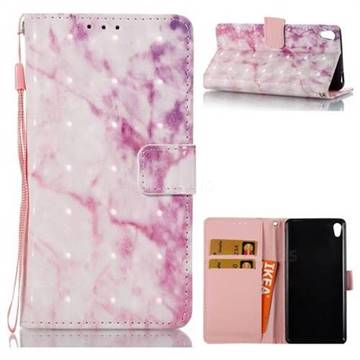 Pink Marble 3D Painted Leather Wallet Case for Sony Xperia E5