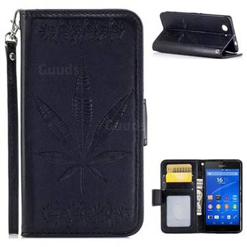 Intricate Embossing Maple Leather Wallet Case for Sony Xperia Z3 Compact Mini - Black
