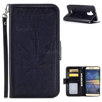Intricate Embossing Maple Leather Wallet Case for Asus Zenfone 3 Max ZC520TL - Black