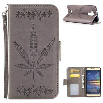 Intricate Embossing Maple Leather Wallet Case for Asus Zenfone 3 Max ZC520TL - Gray