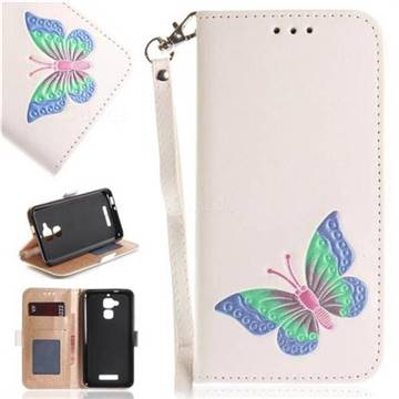 Imprint Embossing Butterfly Leather Wallet Case for Asus Zenfone 3 Max ZC520TL - White