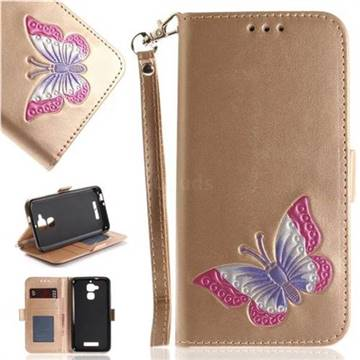 Imprint Embossing Butterfly Leather Wallet Case for Asus Zenfone 3 Max ZC520TL - Golden