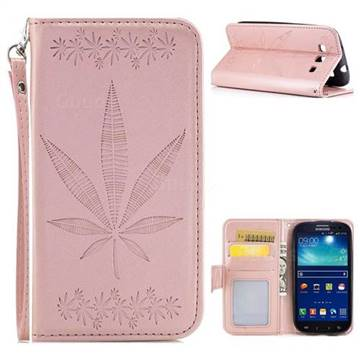 Intricate Embossing Maple Leather Wallet Case for Samsung Galaxy S3 - Rose Gold