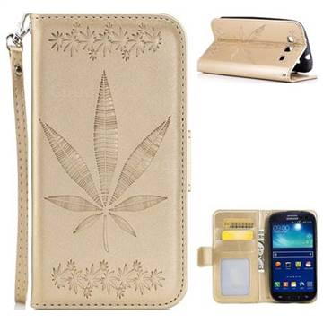 Intricate Embossing Maple Leather Wallet Case for Samsung Galaxy S3 - Champagne