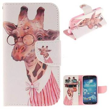 Pink Giraffe PU Leather Wallet Case for Samsung Galaxy S4