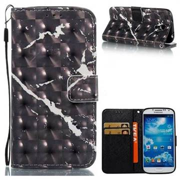 Black Marble 3D Painted Leather Wallet Case for Samsung Galaxy S4