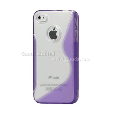 S-Shape PC and TPU Hybrid Case for iPhone 4S / iPhone 4 CDMA - Purple