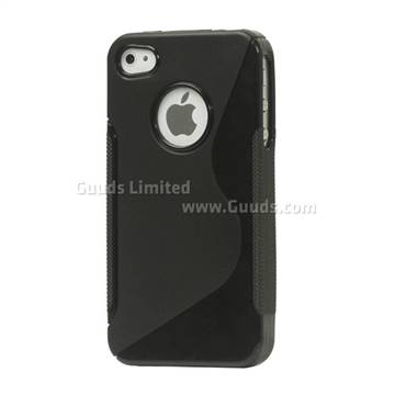 S Shape TPU Gel Case for iPhone 4S / iPhone 4 - Black