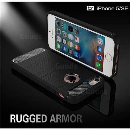 Luxury Carbon Fiber Brushed Wire Drawing Silicone TPU Back Cover for iPhone SE 5s 5 (Black)