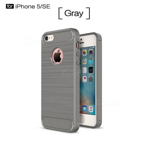 Luxury Carbon Fiber Brushed Wire Drawing Silicone TPU Back Cover for iPhone SE 5s 5 (Gray)