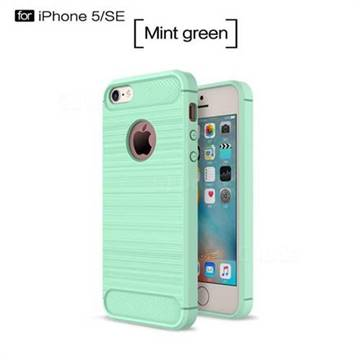 Luxury Carbon Fiber Brushed Wire Drawing Silicone TPU Back Cover for iPhone SE 5s 5 (Mint Green)