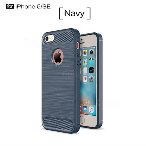 Luxury Carbon Fiber Brushed Wire Drawing Silicone TPU Back Cover for iPhone SE 5s 5 (Navy)