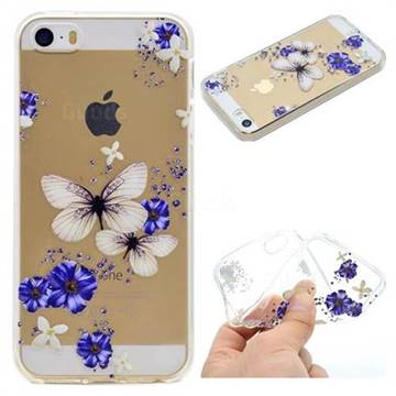 Blue Butterfly Flowers Super Clear Soft TPU Back Cover for iPhone SE 5s 5