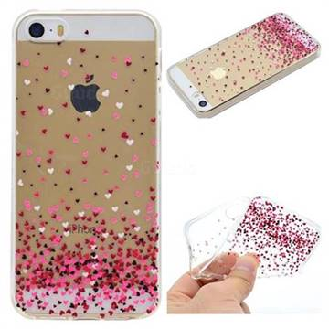 Heart Shaped Flowers Super Clear Soft TPU Back Cover for iPhone SE 5s 5